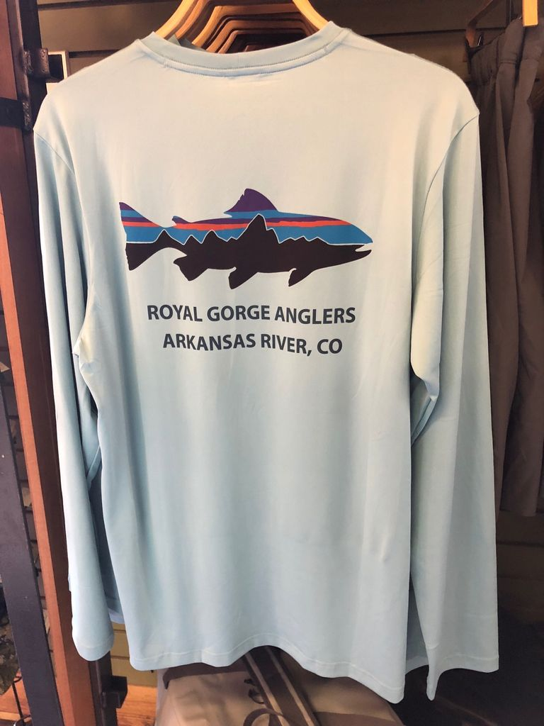Patagonia Men's Graphic Tech Fish Tee Fitz Roy Trout Logo: Royal Gorge Anglers