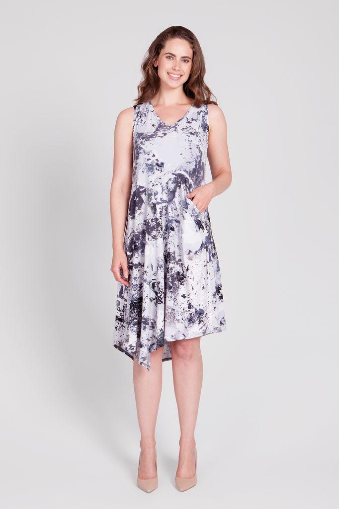 Sleeveless Slant Pocket Dress
