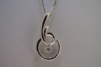 Sterling Silver Floating Diamond Necklace