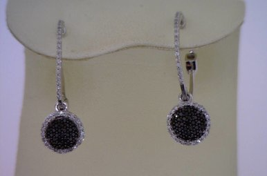 Sterling Blk & White Dia Earrings