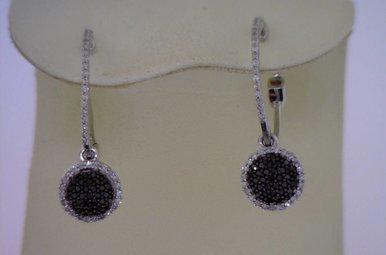 Sterling Blk & White Dia Earrings