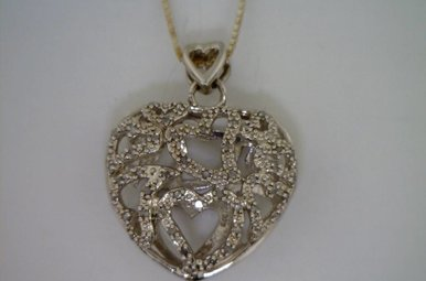 Sterling Silver .25ctw Diamond Puffy Heart Pendant Necklace