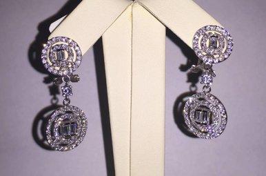 Sterling Emerald Cut CZ Halo Fashion Earrings