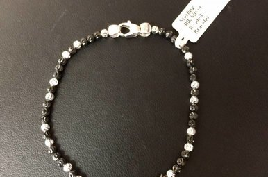Sterling Blk & Silver Beaded Bracelet