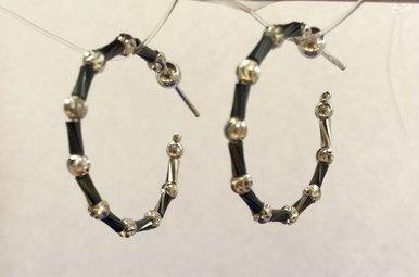 Sterling Blk/Silver Beaded Bugle Hoop Earrings