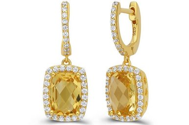 Lafonn 8.22 cttw 66 Stone Gold Color & Yellow Center Earrings