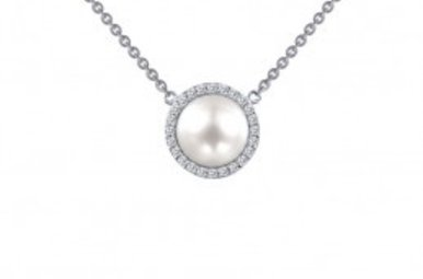 Lafonn .24 cttw 24 Stone Pearl Halo Necklace