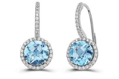 Lafonn 5.1 cttw 104 Stone Blue Topaz Halo Earrings