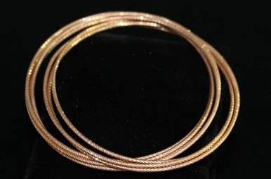 Sterling Rose Tone 7 Strand Bangle Bracelet