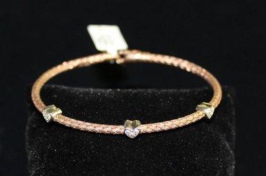 Sterling w/Dia Heart Accent Rose Bangle Bracelet