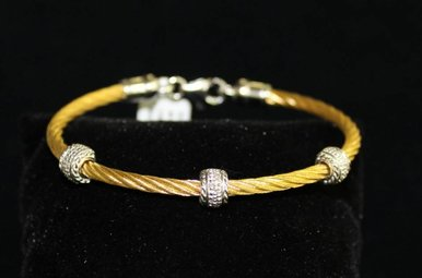 Sterling w/Dia Accents Cable Bracelet