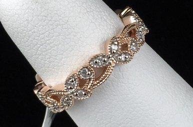 14k Rose Gold .22ctw Diamond Vintage Leaf Stackable Band Ring