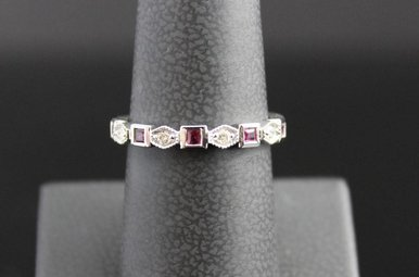 14k White Gold .10ct Diamond & .22ct Ruby Geometric Stackable Band Ring