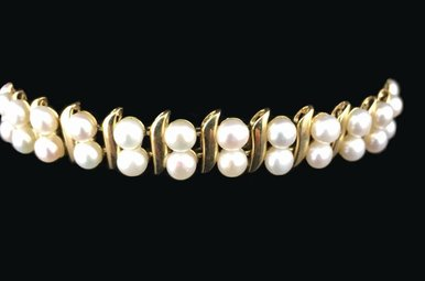 14ky Gold & 4mm Dual Strand Pearl Bracelet