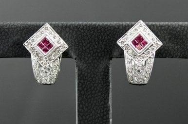 18k White Gold .75ctw Diamond & .50ctw Ruby Filigree Leverback Vintage Style Earrings