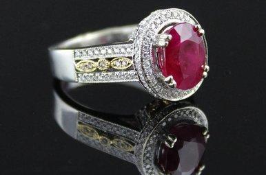 14k Two-Tone White/Yellow Gold 3.13ctw Burma Ruby & Diamond Vintage Ring