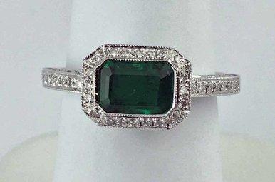 18k White Gold .14ctw Diamond & 1ct Emerald Milgrain Bezel Ring