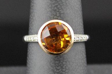 14k Two-Tone White/Rose Gold Bezel Set 2.08ct Citrine & Diamond Accent Fashion Ring