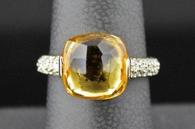14k Yellow Gold 4.9ct Citrine & .10ctw Diamond Ring