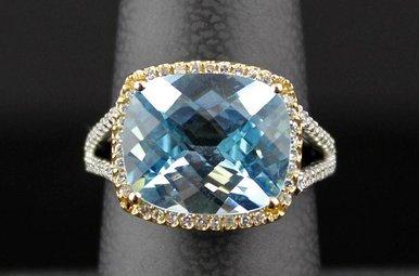 14k Two-Tone White/Yellow Gold .24ctw Diamond & 6.57ct Blue Topaz Ring