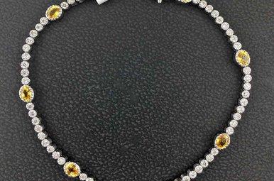 18kw 1ctw Dia 1.5ct Yellow Saph Milgrain Bezel Set Bracelet