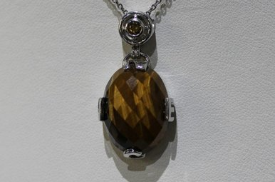 Sterling Silver Faceted Tiger Eye Compass Pendant Necklace