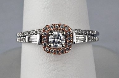 14k Two-Tone Rose/White Gold 1/3ctw (1/7ct Round Ctr) Diamond Engagement Ring Set