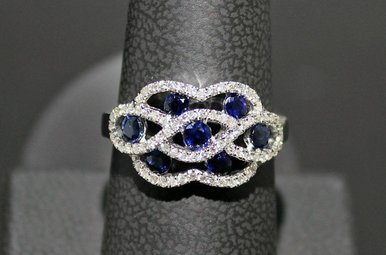 14kw 1.80ct Saph & 3/8ct Dia Fashion Ring