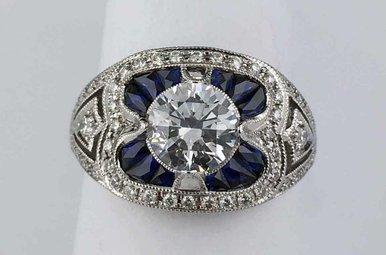 14k White Gold .61ctw Sapphire & .30ctw Diamond Semi Mount (CZ Center) Vintage Engagement Ring