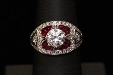 14k White Gold .30ctw Diamond & .61ctw Ruby Semi Mount (CZ Center) Vintage Engagement Ring