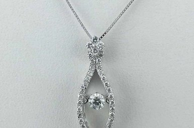 14k White Gold 1/2ctw Dazzing Diamond Marquise Shape Drop Pendant Necklace