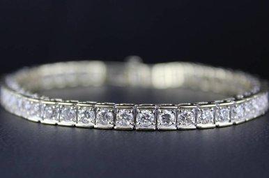 14ky 5ctw Diamond Tennis Bracelet Rounds with Square edge