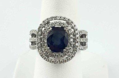 18k White Gold 1.73ct Sapphire & .76ctw Diamond Double Halo Triple Row Ring
