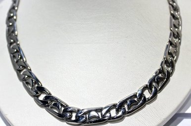 """Stainless Steel Fancy Curb Link Chain 24"""" Necklace"""