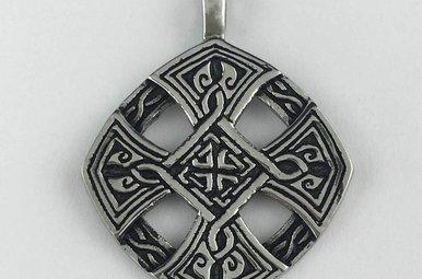 Stainless Steel Antiqued Fancy Cross Pendant