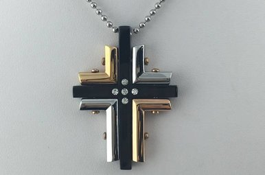 Chisel Stainless Black & Gold Fancy Cross Necklace