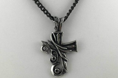 Chisel Stainless Steel Nature Cross Black Chain Necklace