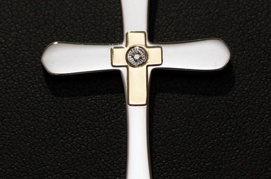 Chisel Stainless Steel/14k Yellow Gold Diamond Accent Cross Pendant Necklace