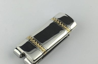 Sterling w/18ky Gold Braided Money Clip