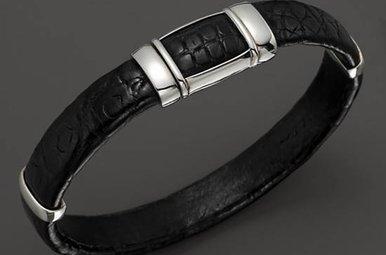 J Goodman Sterling Black Alligator Cuff Bracelet