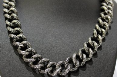 Stainless Steel Textured Large Link Necklace