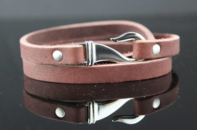 Stainless Brown Leather Wrap Bracelet