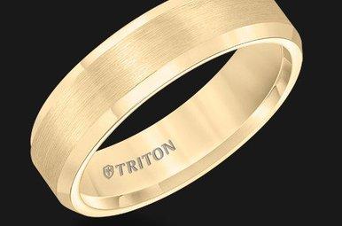 Triton 6mm Bev Edge Yellow TC CF Mens Band (sz10)