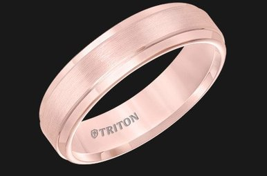 Triton 6mm Rose TC CF Step Edge Mens Band (sz10)