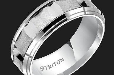 Triton 8mm White TC CF Bevel Step Men's Band (sz10)