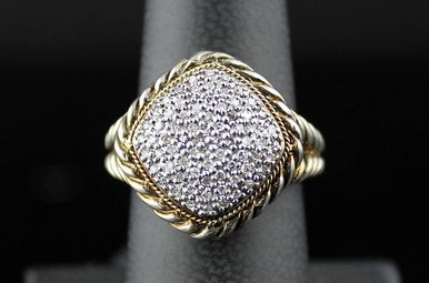Sterling & 18ky .32ctw Dia Pave Rope Design Ring