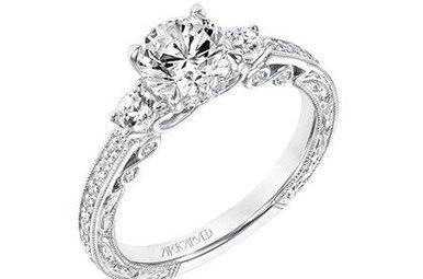"14k White Gold .39ctw Diamond Artcarved Semi Mount ""Rowan"" Engagement Ring"