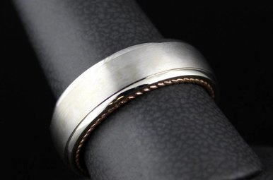 14k Two-Tone White/Rose Gold ArtCarved 7mm Inside-Out Men's Wedding Band (Size 10)
