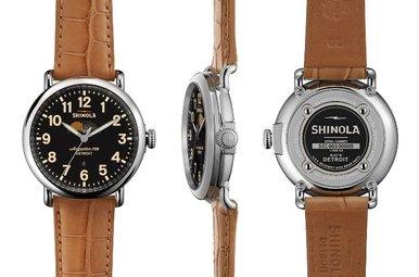 Shinola Runwell Moon Phase 41mm, Tan Alligator Strap Watch