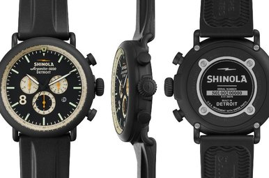 Shinola Runwell Chrono Contrast 47mm, Black Rubber Strap Watch